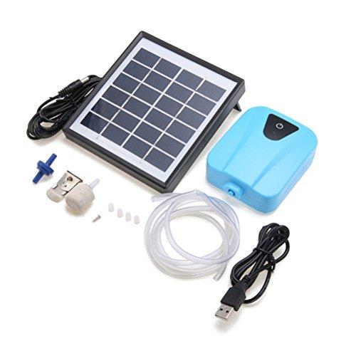 UEETEK Solar Teichbelüfter Sauerstoffpumpe Luftpumpe für Garten, Teich, Aquarium (Blau)