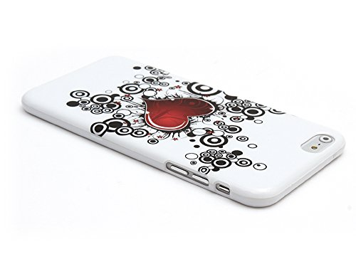 "Kit Me Out UK TPU Gel Case for Apple iPhone 6 Plus / 6S Plus 5.5"" Inch - Black / White Zebra Weiß / Rot / Schwarz Tattoo-Herz"