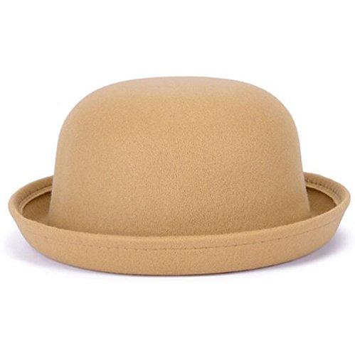 Nanxson Nanxson(TM Damen Elegant Melonen Hut Künstliche Wolle Filzhut Rolle Brim Hut MZW0088 (Beige-Kinder)