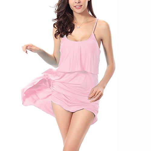 JIAJIA - Copricostume - Tunica - Basic - Senza maniche  -  donna Pink
