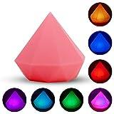HLEARIT Diamante Luz de la Noche - LED Silicona Lámpara de Noche USB recargable Los Mejores Regalos para los Niños Cumpleaños Navidad, 7 Colores Cambiantes