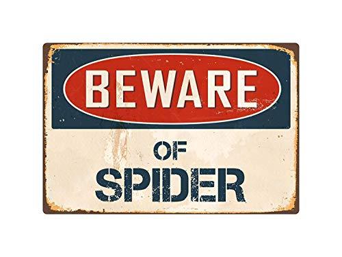 qidushop Schild mit Spinnen-Aufschrift: Beware of Spider, Vintage, Retro, lustiges Geschenk, für Garage, Hof, Zaun, Auffahrt, Dekoration, 20 x 30 cm (Höhle Mann Zeichen Lustige)