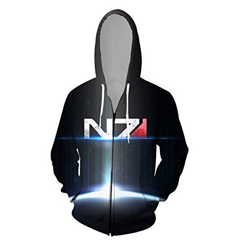 Mass Cosplay Effect Kostüm - HDPDY Hoodie Langarm Mantel Slim fit Pullover Crew Neck 3D Print Cosplay Kapuzen-Sweatshirt Männer Frauen Kapuzenjacke Sweatshirt Paar Tops Pullover Mass Effect