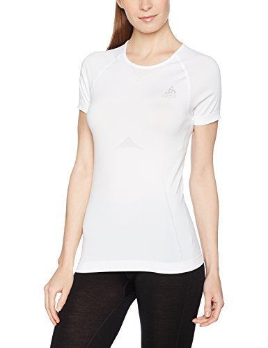 Odlo Damen Shirt S Crew Neck Evolution Light Unterhemd, Weiß, L