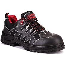 Calzado deportivo masculino de seguridad en piel con puntera de acero ligera-zapatos de trabajo al tobillo de senderismo en piel Black Hammer 8891