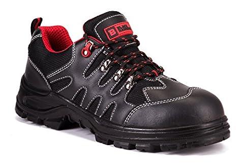 Baskets de sécurité légères en cuir pour hommes avec coque en acier chaussures de travail ou randonnée S1P Black Hammer 8891 (42 EU / 8 UK, Noir)