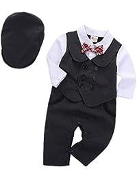 2205b80754ce1 ARAUS Bébé Garçons Gentlemen Combinaison Ensemble Chemise Manches Longue  Veste de Smoking avec Bowknot Cravate 0