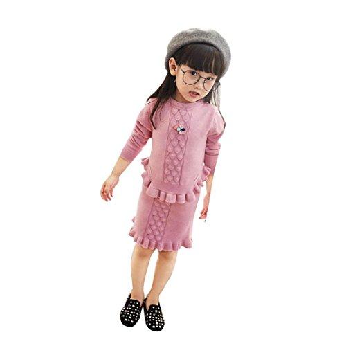 BURFLY Kinderkleidung ♥Kinder Baby Mädchen gestrickt Lotus Blatt Pullover Paket Hip Rock Anzug (Pullover + Rock) (6 Jahre alt, (Rock Star Kostüm Baby Halloween)