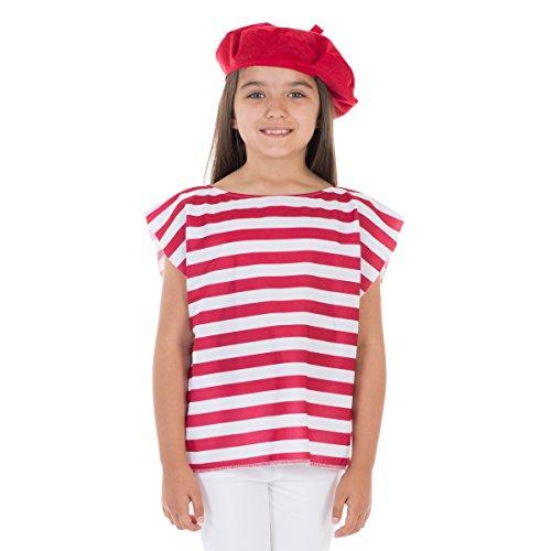 Unbekannt Charlie Crow Französisch Kostüm für Kinder. 3-8 Jahre. Rot und weiß.