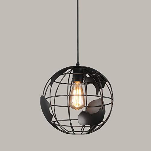 Xindaxin® Vintage Pendelleuchte, Retro Industrielle Lampe Loft Deckenleuchte, Schwarz Eisen Lampenschirm E27 Lampenfassung ø 30cm Edison Hängelampe Hängelleuchte (ohne Birne) -