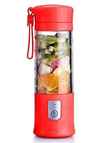 RUCHUFT Smoothie Maker, USB Electric Safety Juicer Cup,Mini Portable Rechargeable/Juicing Mixing Crush Ice und Mixer Mixer, Fruchtsaftmischer, 420-530ml Wasserflasche, red Ice-mini-usb -