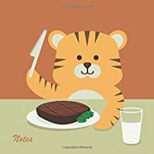Notes: 8.5 X 8.5 Unruled Blank Notebook With Nursery Cute Fun Animal Cartoon Baby Tiger Eating Steak Cover. Matte Softcover Note Book Journal.: Volume 5