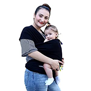 Baby Wrap Carrier for Newborns, Infants & Toddlers Premium Soft Cotton Baby Sling Carrier for Babies up to 44lbs/20kg, Safety Comfortable Functional Black   9