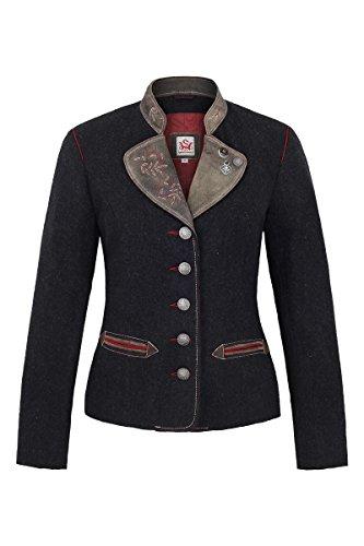 Damen Spieth & Wensky Damen Trachtenblazer Wolle Ziegenvelour grau rot, grau-rot, 46