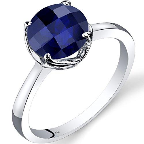 Revoni 14ct oro blanco zafiro anillo solitario 2,50 quilates de corte de tablero de ajedrez