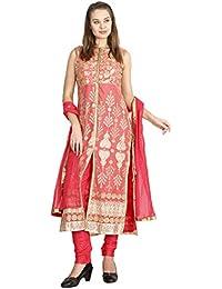 Manmandir Red colour Net Fabric Womens Front Slite Embroidered Salwar Suit Readymade (Salwar Suits for Women)