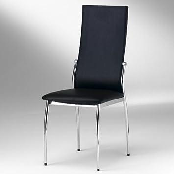 Esszimmer Stuhl DORIS   Set Mit 4 Stühlen   Chrom   Farbauswahl,  Farbe:Schwarz: Amazon.de: Küche U0026 Haushalt