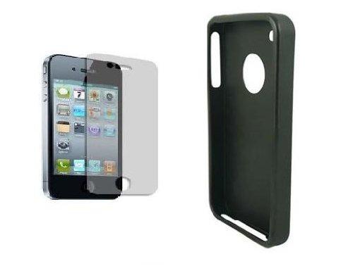 accessory master Schutzhülle aus Silikon mit GEL- &Screen Protector für Iphone 4, 4 g, Schwarz -
