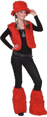Orlob Fell Weste in rot zum Damen Kostüm an Karneval Fasching Gr.L/XL (Fell Weste Kostüm)