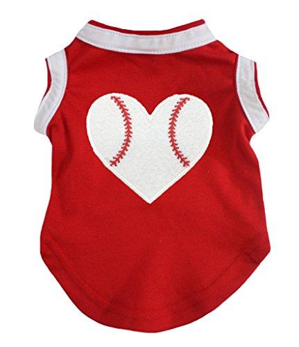 Petitebella Puppy Kleidung Hund Kleid Baseball Herz Rot Weiß Baumwolle T-Shirt, Small, Rot -