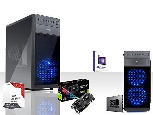 PC DESKTOP GAMING GAMMA SSD ASUS GTX 1050TI 4GB STRIX DDR5 4K QUAD CORE 7°gen AMD A8 9600 34GHZ/LICENZA WINDOWS 10/WIFI 300MBPS/650 WATT 80PLUS/RAM