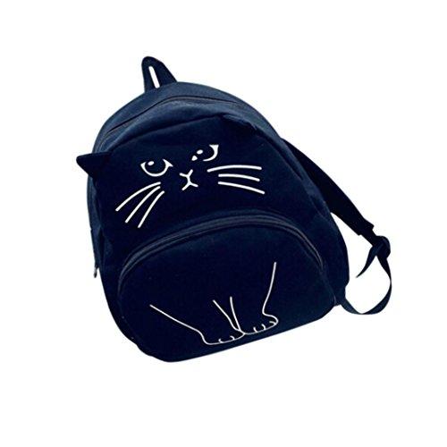 Rcool Lovely Katze Druck Frauen Frauen Leinwand Rucksack Schule Taschen Damen Casual Bookbags (Schwarz)