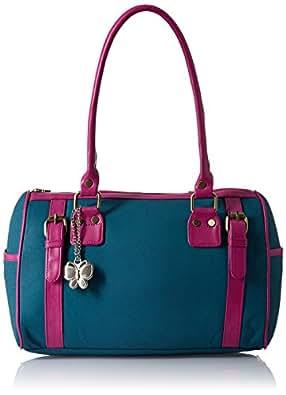 Butterflies Women's Handbag (Blue/Pink) (BNS 0259)
