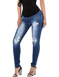 Pantalons Femme Skinny Denim Taille Haute Jeggings Collants Bleu Crayon  Déchirés Jeans ebd791b8ad20