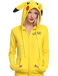 WTUS Sudadera con Capucha Otoño e invierno nuevas Pikachu chaqueta de manga larga suéter para Mujer