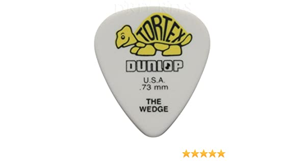 24 x Dunlop Tortex Wedge Guitar Picks 0.73mm Yellow In A Pick Tin Plectrums