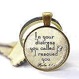 Llavero de escritura cristiana - Salm 81:7 colgante joyería cristiana bíblica cita verso Aqua...