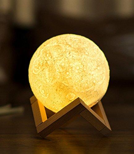 3D Moon lampada, LED Lunar Night luce touch control tavolo lampada luminosità dimmerabile con USB ricarica Moonlight regalo con supporto in legno 5,1 pollici
