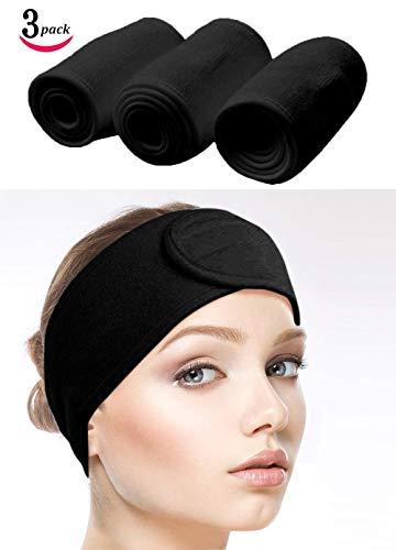Make Up, Kosmetik Stirnband Frottee, verstellbare Haarschutzband mit Klettverschluss 3pcs (Schwarz) ()
