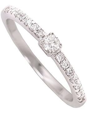MyGold Damen-Verlobungsring Weißgold Weissgold 750 Gold (18 Karat) Diamant 15 Brillanten 0,20 Karat Solitär Heiratsantrag...