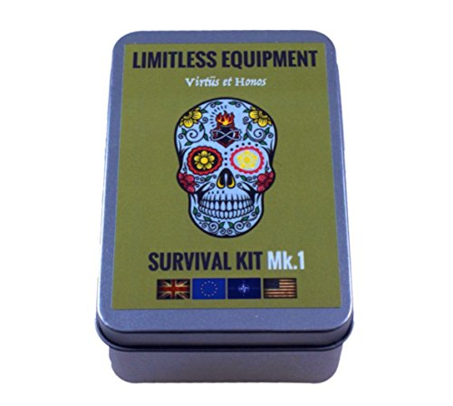 LIMITLESS EQUIPMENT MARK 1 Survival Kit: UK MADE MIL-SPEC, pocket size, pro level contents. Packed with more than 40 items inc. Emergency LED, fishing gear, fire making, TACTI-GLOW survival cord, compass, saw, first aid and much more