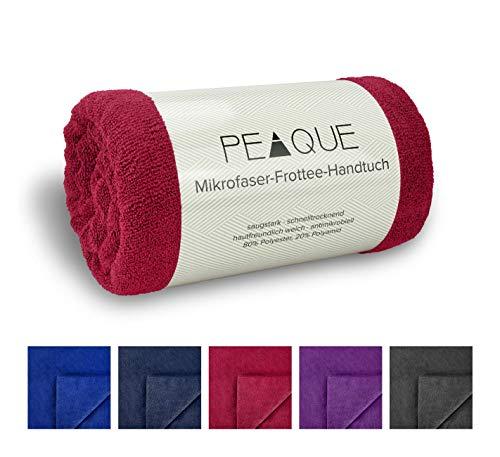 PEAQUE Mikrofaser Frottee Handtuch-Set XL, Sauna-tücher, Bade-tücher, Reise-handtücher (Red, Weinrot, Rot, 80 x 160 cm, 2 x)