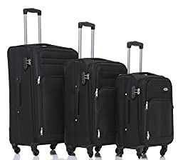 Trolley Luggage Set Fabric Expansion Joint Suitcase Travel Case (Black)