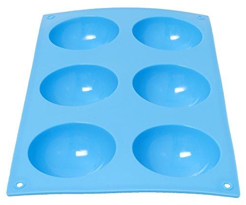 Silikon Formen Backen Schokolade Süßigkeiten Dessert Seife Kerze Formen Halbrund 6Mulden hellblau (Non-stick-ofen-safe Pfanne)