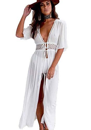 Imixcity abito da donna boho con ricamo a mano abito da spiaggia bikini cover up camicetta bianca abiti estivi beach poncho grembiule mini abito (c# bianca)