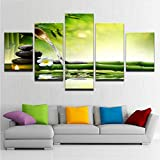 Meaosy Tela Hd Stampa Poster Home Decor Wall Art 5 Pezzi Primavera Pietra Di Bambù Che Scorre Acqua Pittura Candela Immagini Di Fiori (Frameless)-30X40/60/80Cm