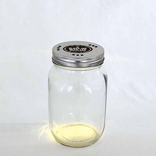 Zeit Concept Mason Klar Glas mit LED-Licht Deckel-mit Loch Belüftungsöffnungen, batteriebetrieben Small -