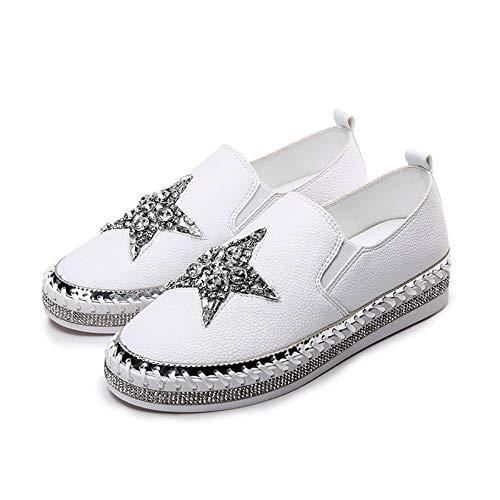 YOPAIYA Fisherman Schuhe Strass Star Leder Espadrilles Weiße Leder Canvas Schuhe Frauen Slipper Auf Frauen Müßiggänger Glitter Kristall Sterne Weiße Schuhe, 37 -