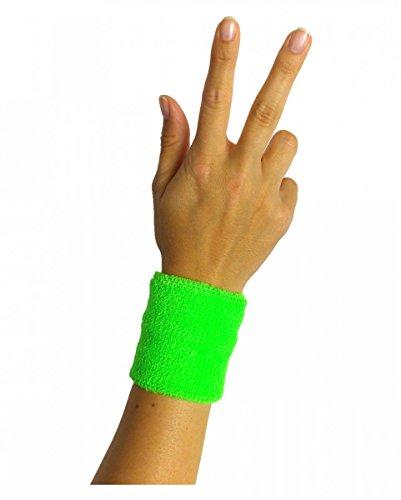 Horror-Shop Neongrünes 80er Jahre Schweiß-Armband für Neon Party -