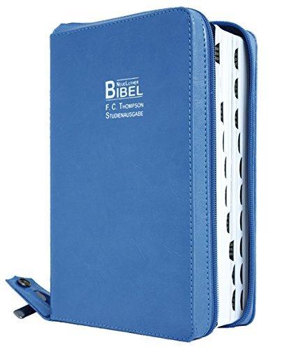 Preisvergleich Produktbild F.C. Thompson Studienbibel: NeueLuther Bibel - Luther 2009 - Kunstleder PU blau, Griffregister, Reißverschluss, Red-Letter-Edition