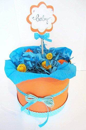 | Modell ORANGE BLOSSOM | Personalisierte mit dem Namen des Baby- | Windeltorte | Baby-Dusche-Geschenk-Idee | Neutral Ton, UNISEX (für Mädchen und Mann) ()