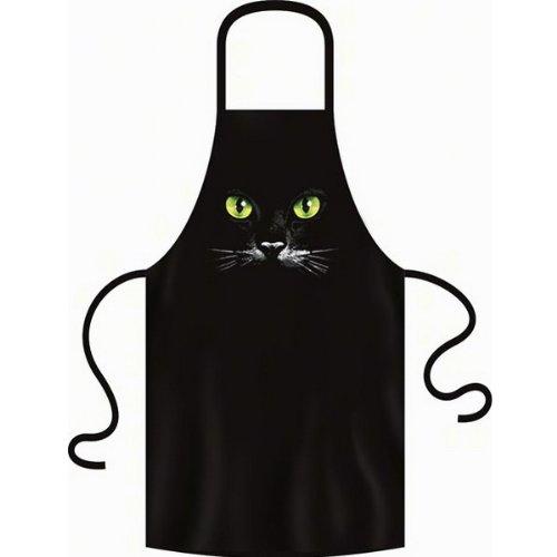 BBQ Zubehör Grillschürze Katzen Augen Motiv unisex : Schwarze Katze - - Kochschürze schwarz