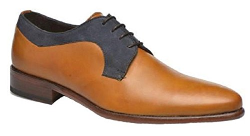 Chaussures classic model Alfon cuir et Daim par HGilliane Design Eu 33 au 44 Bleu
