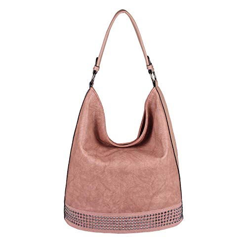 OBC Damen Tasche Shopper Hobo-Bag Handtasche Nieten Schultertasche Umhängetasche Leder Optik Henkeltasche Beuteltasche Bowling Tote Bag (Altrosa 37x34x19 cm)