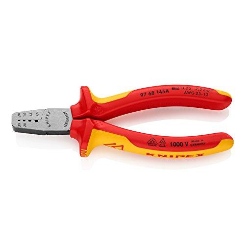 Knipex 97 68 145 A – Pince à sertir à profils trapézoïdaux pour embouts de câblage