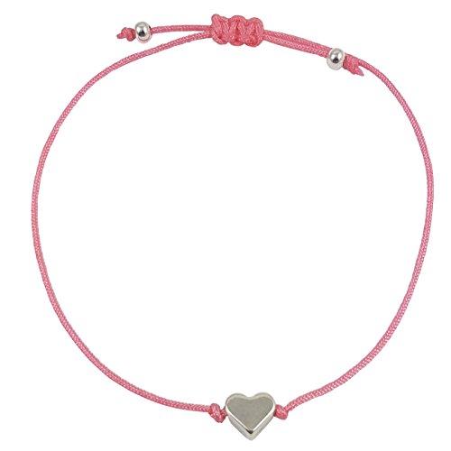 Nilian Herz Armband in silber – Filigrane Frauen Armbänder - perfekt geeignet als Geschenk – Hochwertiges Mädchen-Armband mit Herzanhänger (rosa)